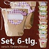 DIY Geschenk-Verpackungs-Set, 6-tlg. | Vintage Landhausstil Karo Lila | 1 Geschenktüte, 1 Deko-Holzfigur Hase, 2 Bänder, 2 Geschenkaufkleber | V20000-02-L-CB0004-03 | CuteLove & Head-Beat