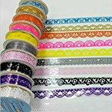 Domire Dekorative Sticky Selbstklebend Spitze Baumwolle Washi Tape für Heimwerker Craft 7 pcs