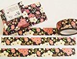 Masking Washi Tape - Dunkle Blüten 15mm x 10m - Filofaxing Scrapbooking DIY Haftnotiz Basteln