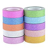 Angel Malone 1 x Premium Rolle orange uni glitzer Washi Tape Deco Abdeckband. Ideal für alle Ihre Bastelarbeiten: Karte machen, Scrapbooking, Annähen, für Hochzeiten & vieles mehr...