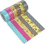 ST Washi-Papier Klebeband Dekorative Kollektion, 15 mm x 9.1m Jeder, 6er Set