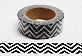 wolga-kreativ Washi Tape ZigZag schwarz/weiß Masking Tape Dekoband