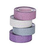 ST Glitzer Washi Tape Dekorative maskierung klebeband,15 mm x 9.1m Jeder, 4er Pack