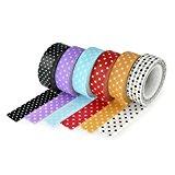 6er-Set YOUZiNGS Washi Masking Tape mit Punkten in 6 verschiedenen Farben, Masking Tape, Washi Tape, Klebeband, Marke YOUZiNGS