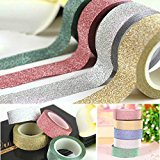 10m DIY Selbst Kleber Glitter Washi Masking Tape Glitzerband Sticker Craft Dekoration (Silber)