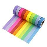Très Chic Mailanda 10er Set Washi Tape Dekobänder Klebeband Masking Tape Regenbogen