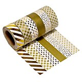 Très Chic Mailanda 6er Set Washi Tape Dekoband Glitzer Gold (15 mm x 10 m, P1001)