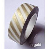 Love My Tapes Washi Tape 15mmX10m-Gold Metallic Candy Stripe