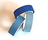 Angel Malone® 3 Shades of Blue Glitter einfaches Papier Washi Tape Deco Abdeckband. Ideal für alle Ihre Bastelarbeiten: Karte machen, Scrapbooking, Annähen, für Hochzeiten & vieles mehr...