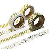 Lath. Pin 6Rollen Washi Tape Masking tape- Deko Klebeband Papier (Gold Glitter 15mm x 10m)