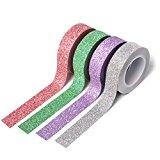 4 Rollen Washi Tape (je 10m) - Glitter Masking Tape 02- Funkelndes Papierklebeband von Washati