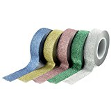 YOUZINGS Washi Masking Tape 5er-Set verschiedenen Glitzer-Farben, Masking Tape, Washi Tape, Klebeband
