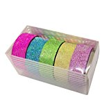 5x Dekorative Regenbogen Klebeband Papier Washi Masking Tape Klebeband DIY Bunt Tapes Kolylong ( ca. 5m Lotal Länge * 1.5cmBreite )
