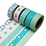 K-LIMIT 5er Set Washi Tape Dekoband Masking Tape 5 Rollen a 15mm x 10 m 9811