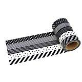 5 Rollen Washi Tape - Set Schwarz - 10m x 15mm - Masking Tape Dekoband Dekorationsband Scrapbooking Klebeband (Set Schwarz)