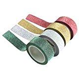 Washi Papierklebeband, mit Glitzerfeffekt, 5m, 4Farben