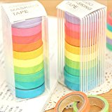 LHWY 10x Washi Sticky Papier Masking Kleber dekorative Klebeband Scrapbooking Tagebuch-Notizbuch