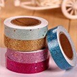Bheema Glitter Star Washi Tape- Klebe Stoff Scrapbooking Aufkleber - Purple
